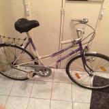 Bicicleta dama 28'' - Mountain Bike, Aluminiu, Alb-Albastru, Fete