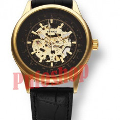 Ceas mecanic-automatic Sewor negru-auriu+ cutie CADOU - Ceas barbatesc, Elegant, Piele ecologica, Nou