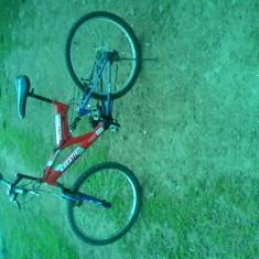 Mountain bike dhs, Numar viteze: 18, Albastru-Rosu, V-brake, Cu amortizor, Arc/elastomer