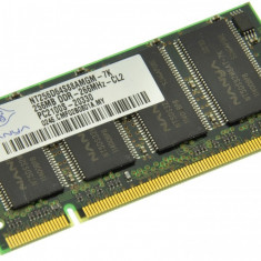 Memorie RAM laptop Nanya, DDR, 256 MB - Memorie laptop 256MB DDR1 266 MHz (PC2100) Nanya NT256D64S88AMGM-7K, SODIMM 200 pini