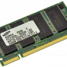 Memorie RAM laptop Samsung, DDR, 256 MB - Memorie laptop 256MB DDR1 266 MHz (PC2100) Samsung M470L3224DT0-CB0, SODIMM 200 pini