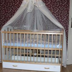 REDUCERE SPECIALA! Vand pat transformabil din lemn cu sertar pentru copii si suport baldachin oferit de la 700 ron la 350 ron! - Patut lemn pentru bebelusi Bertoni, 120x60cm