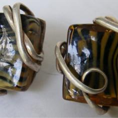Cercei vechi din argint cu sticla colorata - Cercei argint