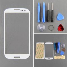 Display LCD, Samsung Galaxy S3 - Sticla Display Fata Samsung Galaxy S3 i9300 ALB + kit scule + adeziv + folie