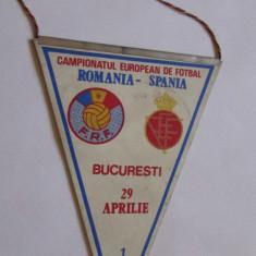 FANION-CAMPIONATUL EUROPEAN DE FOTBAL=ROMANIA-SPANIA-1987 - Fanion fotbal