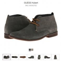 Pantofi de vara GUESS HUBERT din piele - Pantofi barbati Guess, Marime: 41.5, Culoare: Gri, Piele naturala