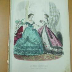 Revista moda - Moda costum rochie evantai flori gravura color La mode illustree Paris 1865