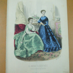 Revista moda - Moda costum rochie evantai gravura color La mode illustree Paris 1867