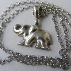 Lantisor argint - Lant vechi din argint si medalion elefant - de colectie