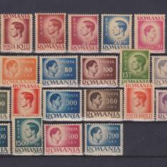 Timbre Romania, An: 1945, Regi, Nestampilat - 1945 - UZUALE - MIHAI - SERIE COMPLETA 30 VALORI HARTIE GRI - MNH DE LUX