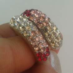 Inel placate cu aur - Superb inel 9k GOLD FILLED alb cu cristale CZ. Marimea 5, 6, 7 - ajustabil