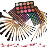 Trusa Machiaj 183 culori cu blush Fraulein38 Germania + 32 pensule machiaj lemn - Trusa make up