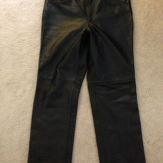 Pantaloni dama, Lungi, Piele - Pantaloni din piele naturala negrii unisex