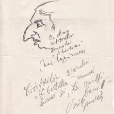 CARICATURA_AUTOPORTRET NAE LAZARESCU + autograf VASILE MURARU - Reproduceri arta