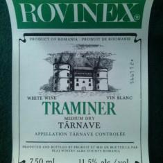 ETICHETA VIN ROMANESC PENTRU EXPORT ROVINEX TRAMINER - 1995