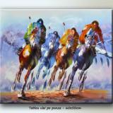 Cursa cai 1 - tablou 60x50cm LIVRARE GRATUITA 24-48h - Pictor roman, Scene gen, Ulei, Altul