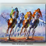 Cursa cai 1 - tablou 60x50cm LIVRARE GRATUITA 24-48h, Scene gen, Ulei, Altul
