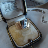 Inel diamant - MODERN INEL AUR 14KT-CU 3 DIAMANTE-FRUMOS, DEOSEBIT
