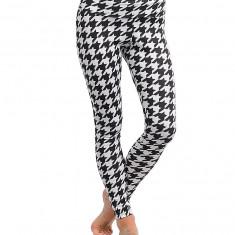 Pantaloni dama - Colanti Sexy, Lungi, Multi Color, cu Bentita Indoita pe Talie, Culoare Alb Negru