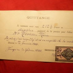Chitanta de plata Pension in Bucuresti 1900, Timbru Fiscal 10 Bani, cifra 10 departata de B - Cambie si Cec