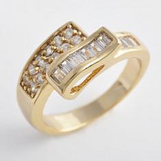 Inel placate cu aur Swarovski - Inel Aur filat 9k cristale zirconiu, marime 7(US). cod CF26