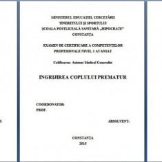 LUCRARE DE LICENTA AMG – ÎNGRIJIREA NOU NASCUTULUI PREMATUR (+ PREZENTARE POWER POINT)