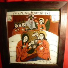 Icoana veche pe sticla -Nasterea Domnului -semnata Gheorghe I Nicula - Icoana pe sticla