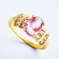 Inel placate cu aur Swarovski - Inel Aur filat 9k cu Opal si cristale zirconiu, marime 7(US). cod CF28