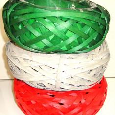 Set 3 cosuri OZN impletituri rachita cu suport plastic pt aranjamente flori naturale, D 25cm