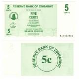 SV * Zimbabwe 5 CENTS 2007 UNC (PRET per BANCNOTA, serii consecutive), Africa, An: 2007