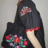 Poseta / geanta traditionala, ethno brodata manual cu matase multicolora - Geanta handmade