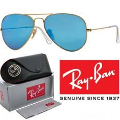 Ochelari de soare Ray Ban, Unisex, Albastru, Dreptunghiulari, Metal, Protectie UV 100% - Ochelari Ray Ban Aviator TOC LAVETA