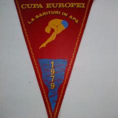 Fanion Cupa Europei la sarituri in apa Sibiu - Romania 1979 ( format mare ) - Fanion fotbal