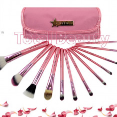 Pensula make-up - Trusa 12 pensule profesionale machiaj Fraulein38 Pink Candy set pensule machiaj