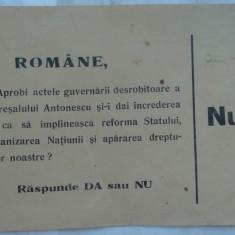 Buletin de vot din timpul dictaturii Maresalului Antonescu - Afis