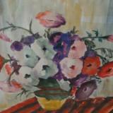 Vas cu petunii, acuarela pe carton semnata L Blanatui - Pictor roman, Flori, Impresionism