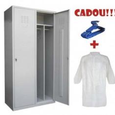 VESTIAR COMPARTIMENTAT METALIC CU 2 USI, ECO + CADOU!!! (5 buc Umeras vestiar + 10 buc HALAT ALB)