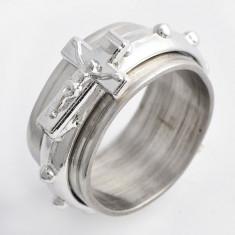 Inel unisex cruciulita model antistres, otel inoxidabil, marime 7, 5 US cod GD686 - Inel placate cu aur