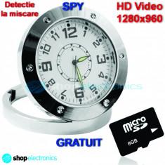 Gadget supraveghere - CEAS Metalic cu Camera Spion | Card 8GB GRATUIT + CADOU | HD Video 1280x960 | Senzor de miscare | Garantie 12 luni | Ceas de Masa/ Birou Spionaj - SPY