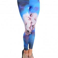 Pantaloni dama - Colanti, Albastru Roz, Imprimeu Cai