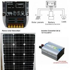Panouri solare - Sistem Fotovoltaic Complet 50 W 12 V . Panou monocristalin, Panouri Fotovoltaice