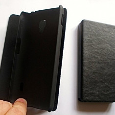 Husa LG Optimus F6 D500 Flip Case Slim Black, Negru, Piele Ecologica, Toc, Cu clapeta