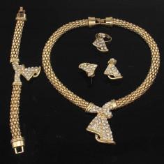 Statement-Set de bijuterii Aur placat 18k, Cristale Swarovski : cercei, colier, bratara, inel - Set Swarovski
