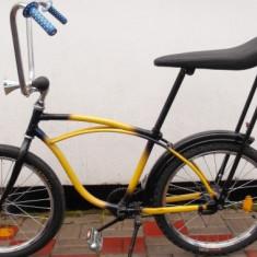 Bicicleta retro, 20 inch, Numar viteze: 1, Otel, Albastru-Galben - Pegas modern(kent)