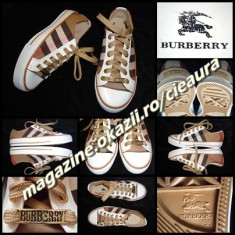 TENISI BEJ NUDE DAMA firma BURBERRY LONDON ESTABLISHED 1856 NEW EDITION TENESI - Tenisi dama Burberry, Marime: 36, 37, 38, 39, Culoare: Alb, Negru, Textil