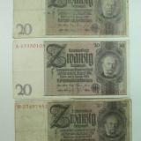 Bancnota Straine - GERMANIA - 20 MARCI - AUGUST 1924 - LOT DE 3 BUC.