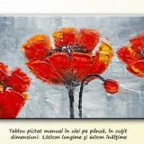 Aranajment floral modern cu maci 4 - ulei in cutit 120x60cm, livrare gratuita - Pictor roman