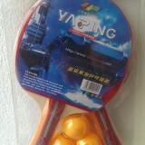 Paleta ping pong - Set 2 Palete cu 3 mingi, Ya Ping