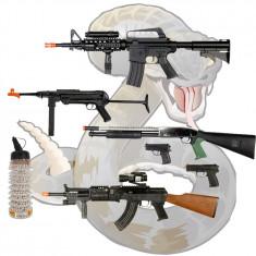 Arma Airsoft - MEGA SET AIRSOFT CALIBRU 6mm COMPUS DIN 4 PUSTI, 2 PISTOALE SI 1000 BILE BONUS.