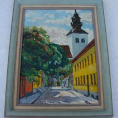 Pictura pe placaj - strada cu biserica, semnat Baba - Pictor roman